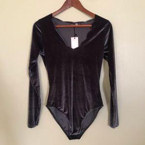 Velvet Bodysuit in Charcoal